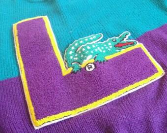 1980s Child Lacoste Sweater Turquoise Purple Letterman Size 7