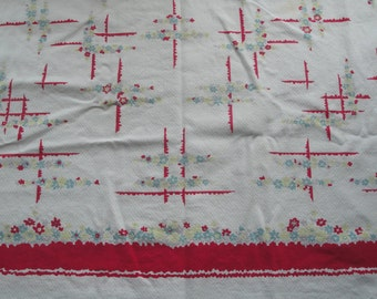Vintage Cotton Table Cloth Bright Flowers Square Red Chartreuse 46X 44