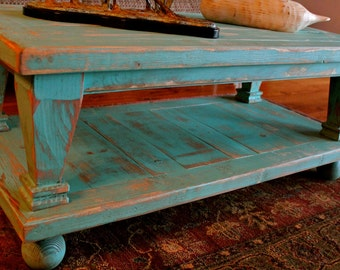Living Room Furnishings - Wood - Coffee Table - Wooden - Shabby Furniture - French Country - Rustic Home Decor - 45 Long x 20 Wide x 16 Tall