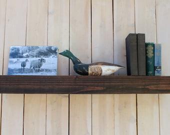 Wood - Floating Wall Shelf - Farmhouse Chic - Shelves - Wooden Shelving - 40 x 6 x 6