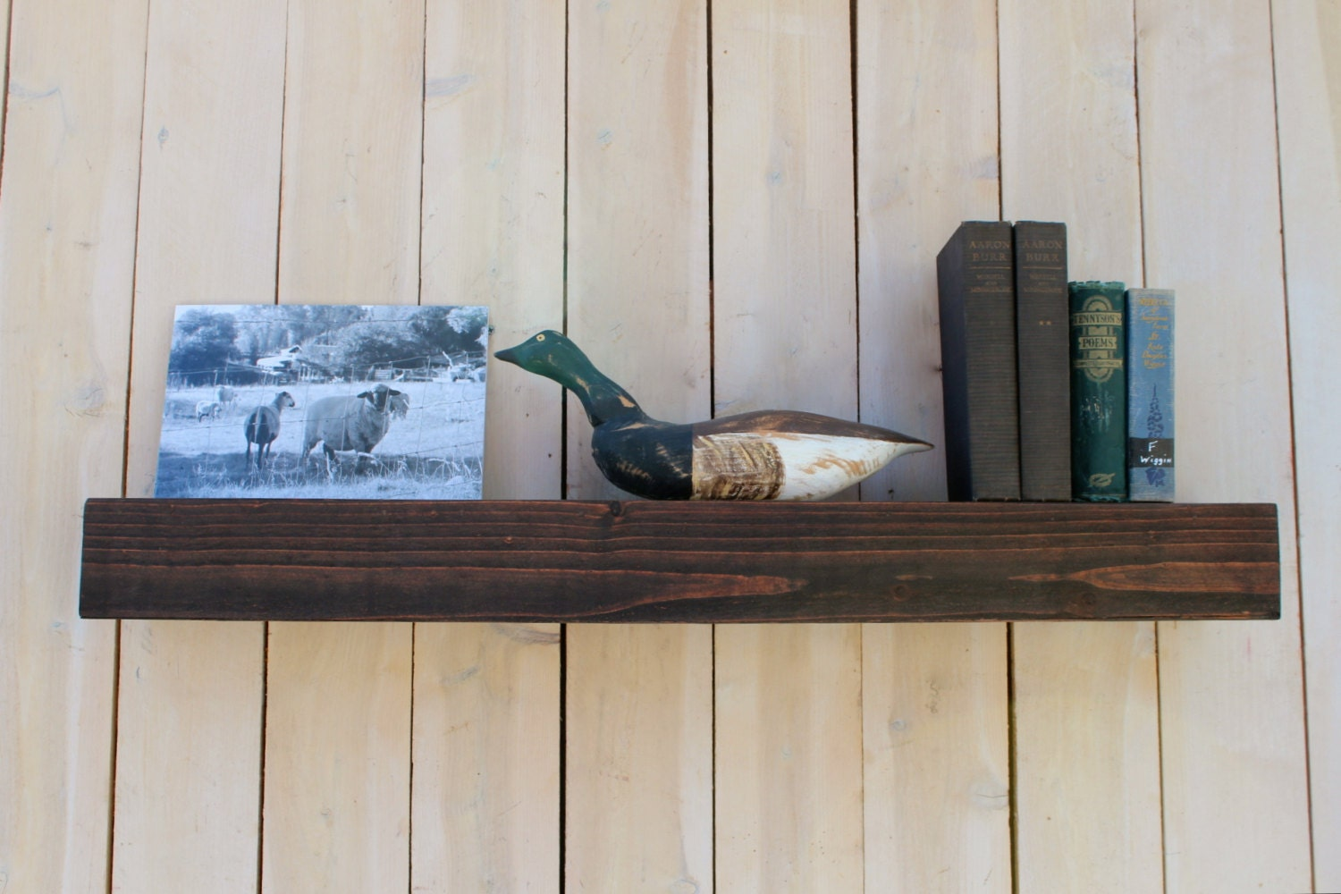 Wood Floating Wall Shelf Farmhouse Chic Shelves Wooden
