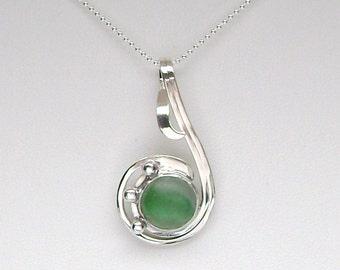 Sea Glass Jewelry - Sterling Green Half Sea Glass Marble Pendant