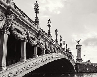 Paris Print, Paris Black and White Photography, Art Nouveau, Paris Bridge, Paris Wall Art Decor, Travel Photography, Pont Alexandre III