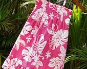 Girls Hawaiian Dress Pink Tiare Shirred Halter Dress Made in Hawaii