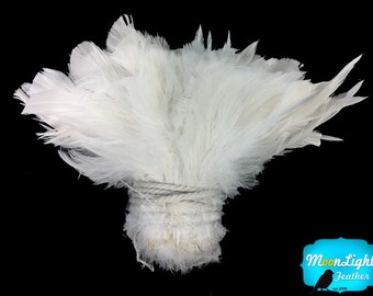 Wholesale Feathers, 1 Yard - Natural WHITE Strung Schlappen Rooster Wholesale Feathers (bulk) : 2235