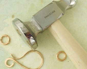 SALE Chasing Hammer - You Choose FLAT or DOMED - My Pick for a Great All Around Planishing Tool - Wire Sample Included