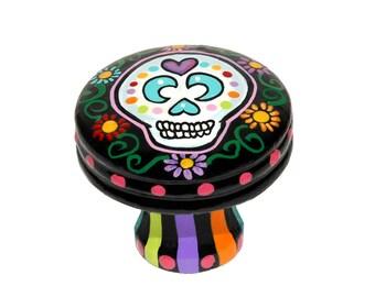 Sugar Skull Knob DAY OF DEAD Black or Pink