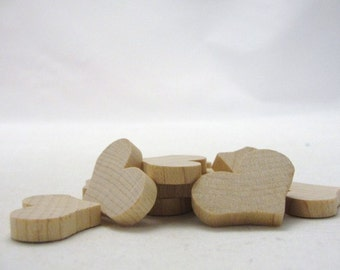 """12 Wooden hearts country 1 1/4 inch (1.25"""") wide 3/16"""" thick unfinished wood hearts diy"""