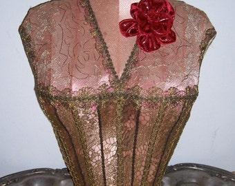 Small Bold Deep Red Vintage French Velvet Lame Flower Dress Hat Millinery Embellishment