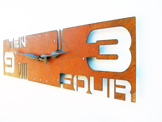 Outnumbered IV, Extra Large Wall Clock, Rusted Wall Clock, rustic wall clock, unique wall clock, modern wall clock, steampunk wall clock