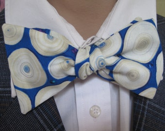 Blue Tree Ring Bow Tie