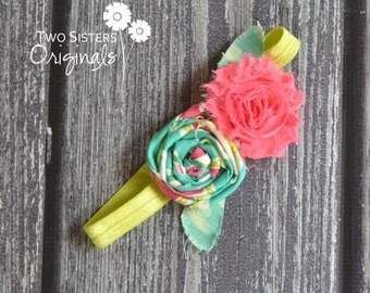 Shabby Flower Rosette Headband - Made to match any dress or tie in our shop