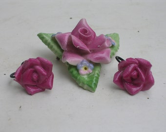 Vintage Rose Porcelain Brooch and Earrings