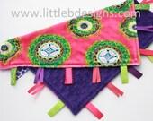 Personalized Hot Pink Spice Market Minky with Dark Purple Minky Tag Blanket  Ribbon Lovey