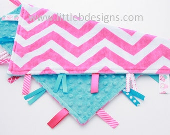 Hot Pink and White Chevron Minky with Aqua Tag Blanket  Ribbon Lovey - Personalized