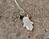 Hamsa Pendant - Evil Eye - Black Spinel Pendant/Necklace - Mother Of Pearl - Yoga Jewelry - Bohemian Necklace