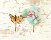 Flower hair clips, butterfly bobby pins, teal floral hair pins, hair accessories by Gardens of Whimsy on Etsy