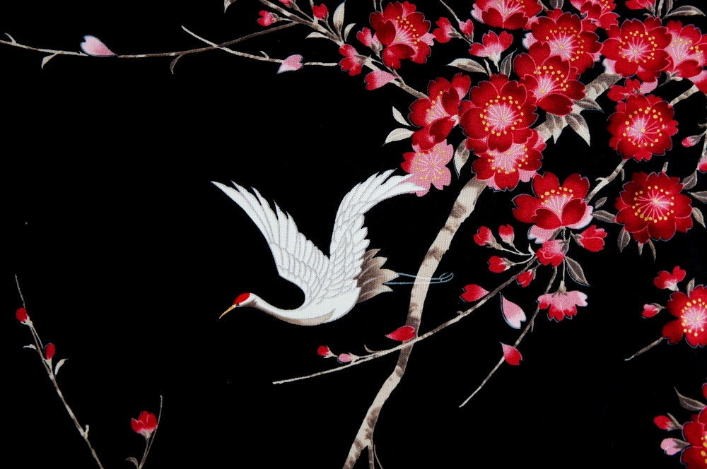 Crane Sakura Cherry Blossom Fabric Cotton Black White Bird