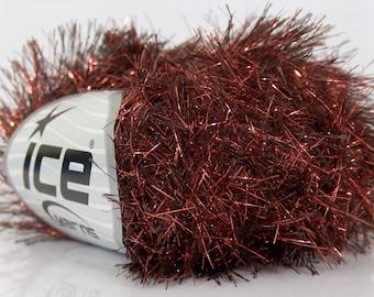 Copper Brown Metallic Eyelash Ice Glitter Lash Fun Fur Yarn 17483 54 Yards