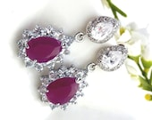Ruby Pink Cubic Zirconia Peardrop Edged with Clear Cubic Zirconia with Peardrop CZ Post Earrings