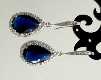 Bridal Earrings Sapphire Blue Pear Shaped Cubic Zirconia with White Gold Plated CZ Earrings