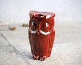ceramic owl travel mug - marsala