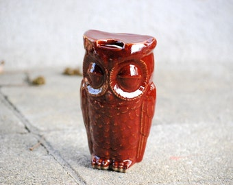 ceramic owl travel mug - marsala