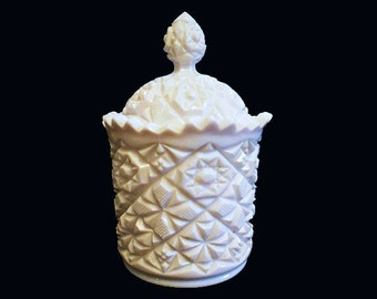 Vintage  White Milk Glass Old Quilt Pattern Apothecary Jar Candy Container Wedding Candy Buffet