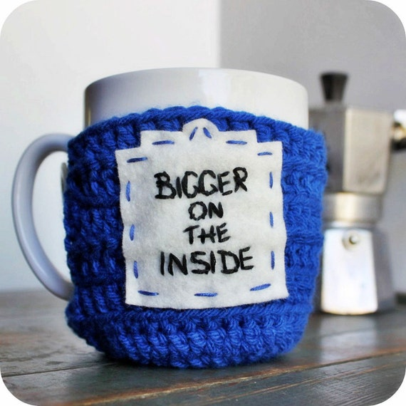 Bigger on the Inside Doctor funny coffee mug cozy tea cup blue black crochet handmade cover