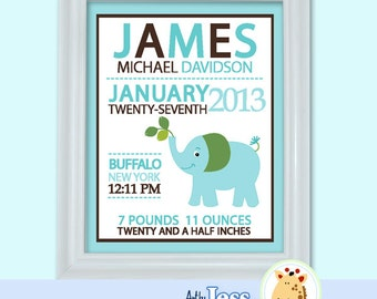 Blue Elephant Birth Announcement Print - Baby Shower Birth Print