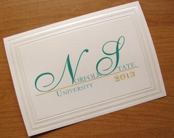 Graduation Announcement, traditional folded card, Formal, Elegant, Norfolk