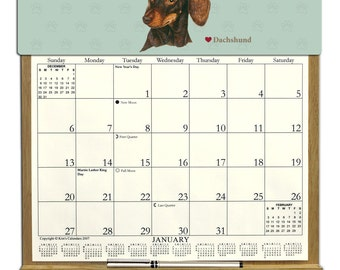2018 CALENDAR - Dachshund  Dog Wooden  Calendar Holder filled with a 2018 calendar & an order form page for 2019.