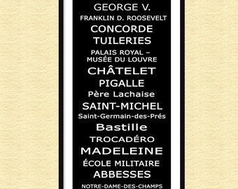 "Paris Metro Bus Roll Subway Sign Scroll 12"" x 36"" Poster Print"