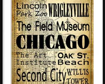 Chicago Typography - Transit - Subway Roll - Map 20x30 Poster Print