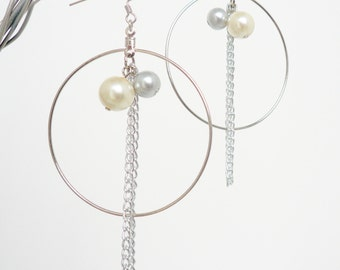 Hoop Two Tone Pearl and Chain Earrings