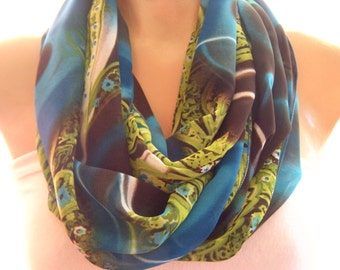 Chiffon Infinity scarf  Blue Brown and Pistachio green Eternity Loop scarf Necklace Scarf Chiffon cowl -Instant gratification-Last one