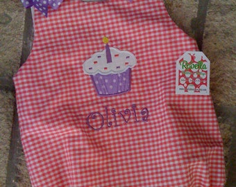 Custom monogrammed personalized birthday bubble suit  Hot pink  Gingham with Purple Bows  03M,6M,9M,12M,18M,24M.