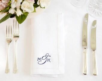Classic Monogram Napkin - Linen Napkins - Personalised Napkins - Monogram Wedding Idea - Monogram Wedding Napkins, Christmas Napkins