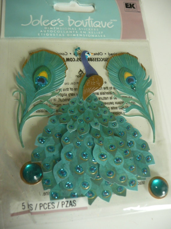 PEACOCK FEATHERS Jolee's Boutique dimensional Supplies stickers - Teal Green, Birds