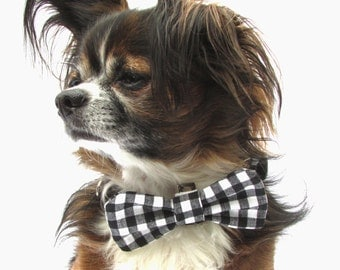 Dog Bowtie-Clip on-Black and White Gingham Small