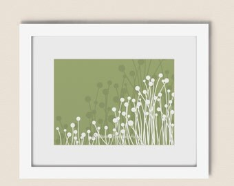 Green Grass Decor Art Print, , Pick Your Colors Nature Wall Art, Home Decorating, Modern Circle 5 x 7 Print (62)