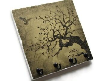Key Hook Jewelry Organizer, Earthtone Decorative Tile, Key Rack, Natural Brown Tree Art Wall Decor, Key Holder