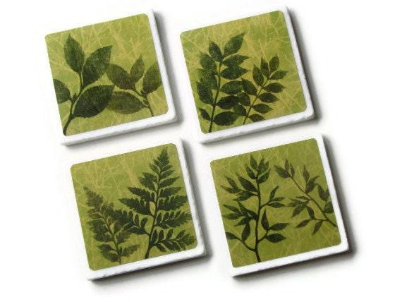 Leaf Coasters, Fern Decor, Spring Green Foliage Art, Summer Leaves Botanical Table Decor, Ceramic Tile, Set of 4