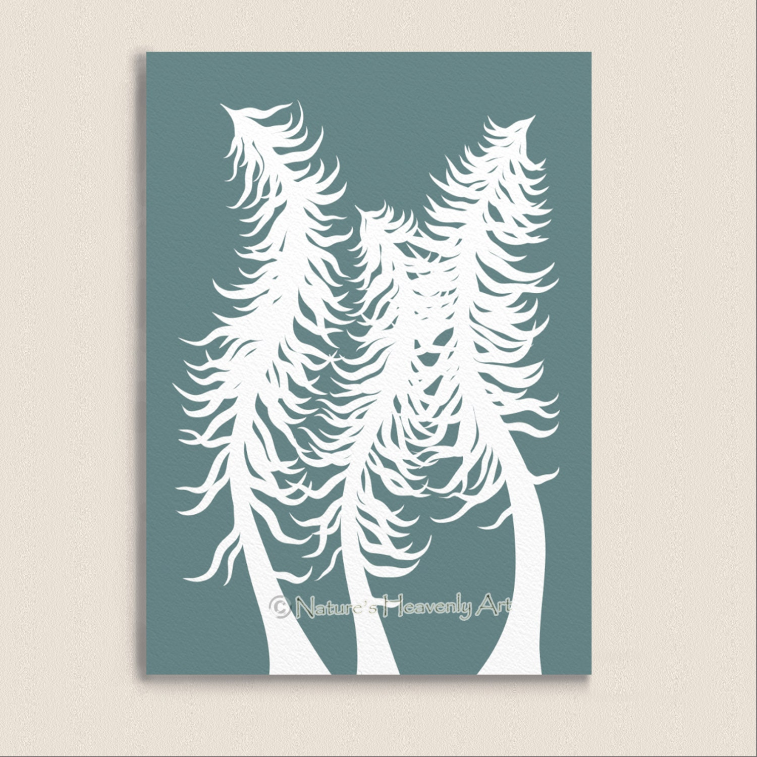 Wall Decor Pine Trees : Items similar to blue teal abstract pine tree wall art