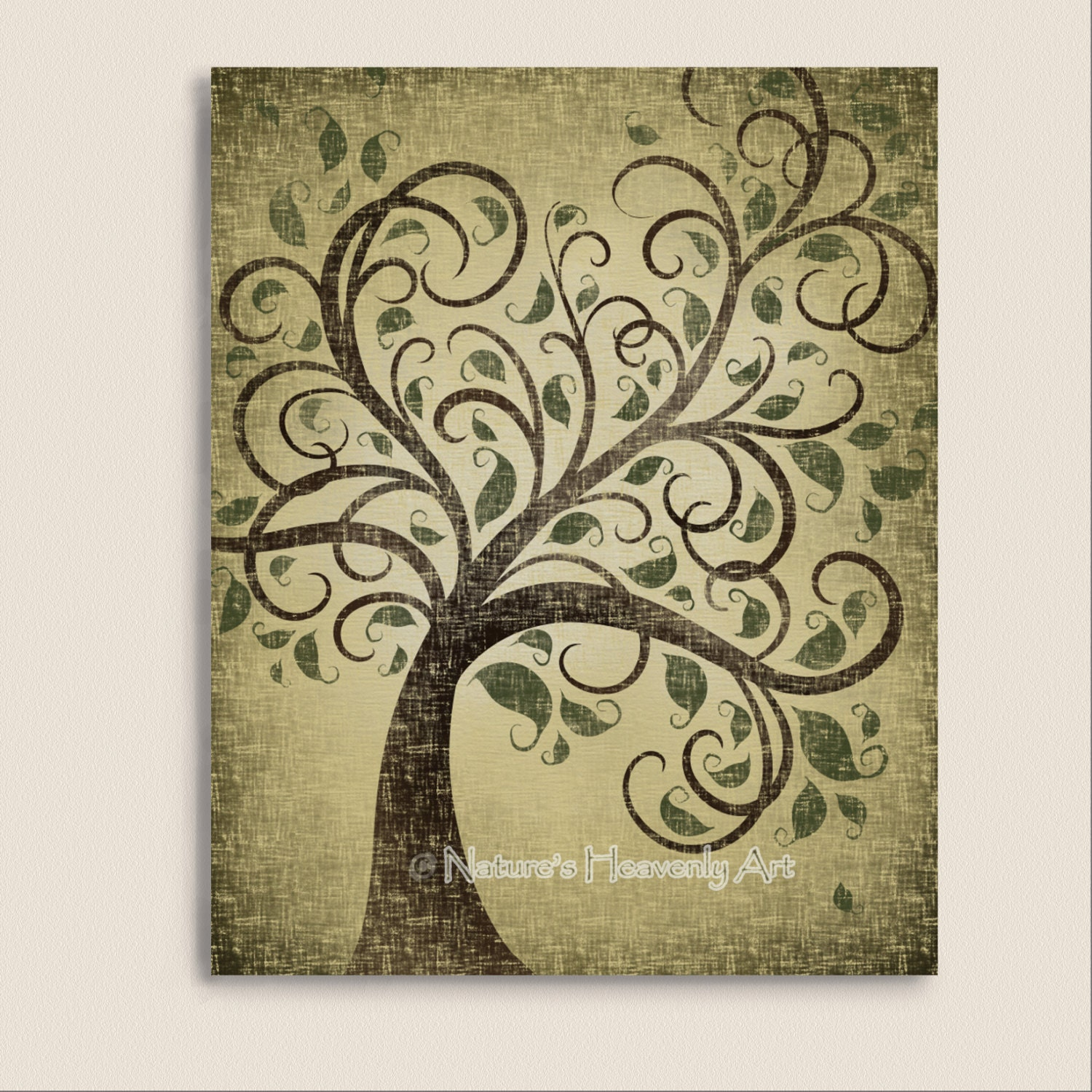 Rustic Tree Wall Decor : Rustic tree wall art print natural by