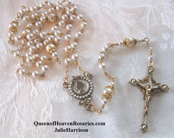 Bride's Rosary - Catholic Gold Rosary Swarovski Pearls -Wedding, Communion, Mothers  Day Gifts, Anniversary Rosary