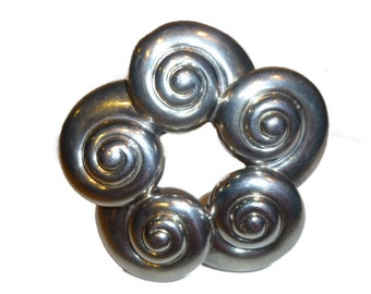 Margot de Taxco Snail Swirl Sterling Silver Brooch. 1950s Mexico.