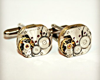 STEAMPUNK CUFFLINKS with Vintage Watch Movements - Great Gift for Father's Day, Birthday, Anniversary, Graduation