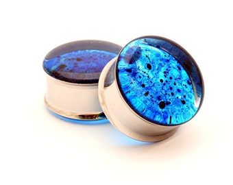 Blue Spatter Resin Plugs gauges - 1 1/8, 1 1/4, 1 3/8, 1 1/2 inch