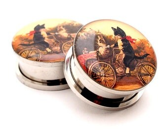 Cats on a Bike Picture Plugs gauges - 16g, 14g, 12g, 10g, 8g, 6g, 4g, 2g, 0g, 00g, 7/16, 1/2, 9/16, 5/8, 3/4, 7/8, 1 inch